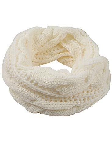 LOSRLY Damen-Schal, klassisch, modisch, gestrickt, warm, weich, elegant, einfarbig, mit Kreis Gr. Einheitsgröße, weiß