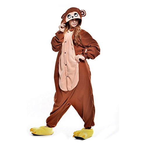 Amurleopard Coverall Pajamas Hoodie Animal Costumes Cosplay Brown Monkey XL
