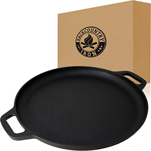 Backcountry Iron 13.5 Inch Cast Iron Pizza Pan with Loop Handles / Griddle / Even Heat Retention for Sauteing, Grilling, and Baking