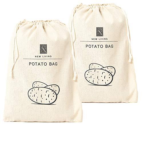 New Living Lot de 2 sacs à pommes de terre   26 x 38 cm   matériaux en lin bio   produit écologique   sac de rangement alimentaire  
