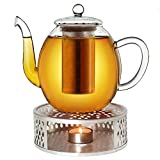 Creano Tetera de cristal de 1,0 l + hornillo de acero inoxidable, tetera de cristal con filtro de acero inoxidable y tapa de cristal, ideal para la preparación de té suelto, sin goteo
