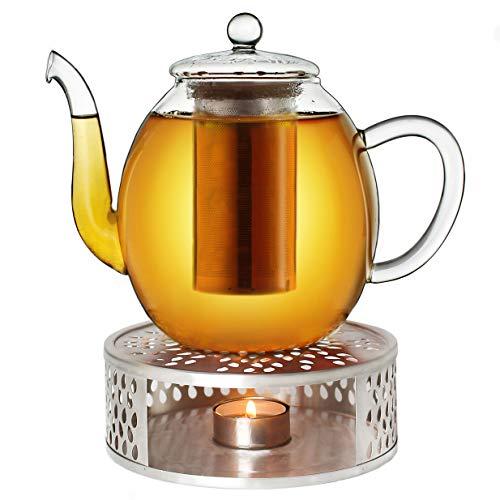 Creano Teekanne aus Glas 1,0l + EIN Stövchen aus Edelstahl, 3-teilige Glasteekanne mit integriertem Edelstahl Sieb und Glasdeckel, ideal zur Zubereitung von losen Tees, tropffrei