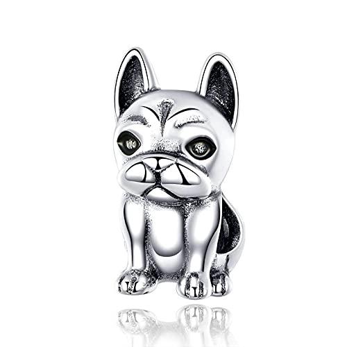 SANHUA S925 Charm con Cuentas De Bulldog Francés Lindo De Plata Esterlina Que Se Adapta Al Colgante De Pulsera Original