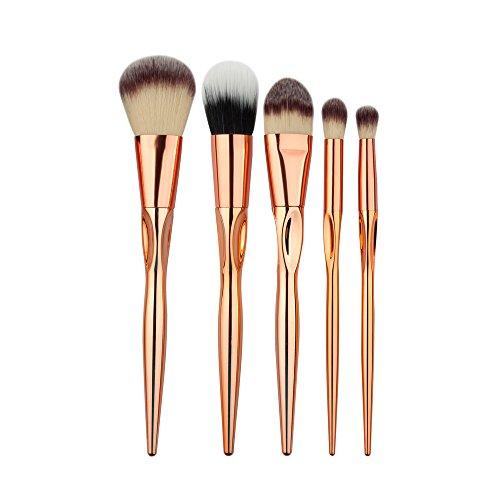 CAOLATOR Ensemble d'outils de maquillage Ombre à paupières brosse à sourcils pinceau eye liner pinceau de maquillage pour les maquilleurs et également amateurs 5PCS Or rose