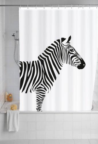 WENKO Anti-Schimmel Duschvorhang Wild, Duschvorhang mit Antischimmel Effekt fürs Badezimmer, inkl. Ringen zur Befestigung an der Duschstange, waschbar, 100prozent Polyester, 180 x 200 cm, schwarz/weiß
