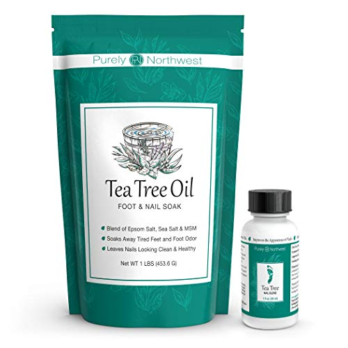 Tea Tree Oil Foot and Nail Soak with Epsom Salt 16 oz & Tea Tree Nail Blend 1 Fl oz - Two Part Foot & Toenail System- Helps Renew Discolored Toe and Finger Nails