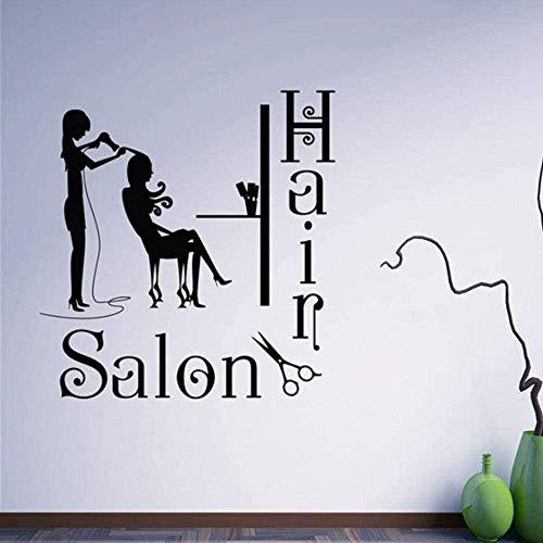 Etiqueta de la pared calcomanía papel tapiz logotipo de peluquería peluquería peinado peluquería salón de belleza ventana vinilo artista decoración del hogar 57X59 cm