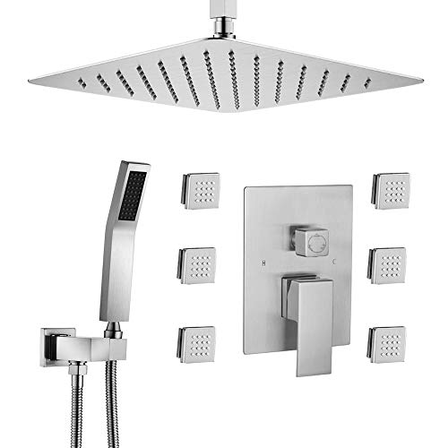 STARBATH Shower Jets System, 12 Inch Ceiling Mounted Rainfall Shower Head with 6 Body Sprays and Brass Handshower, Shower Faucet Rough-in Mixer Valve and Trim Included Shower Combo Set, Brushed Nickel
