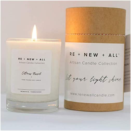 RE+NEW+ALL Artisan Candle | Citrus Basil | All Natural Soy Wax & Cotton Wick | 13.5oz | 60+ Hour Long Burn Time | Strong Scent Throw | Hand Poured By Trafficking Survivors 4