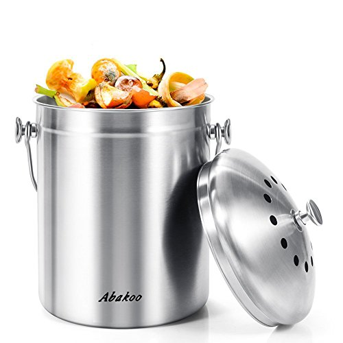 Fantastic Deal! Abakoo Stainless Steel Compost Bin - 1.3 Gallon Premium Rust-Resistant Grade 304 Sta...