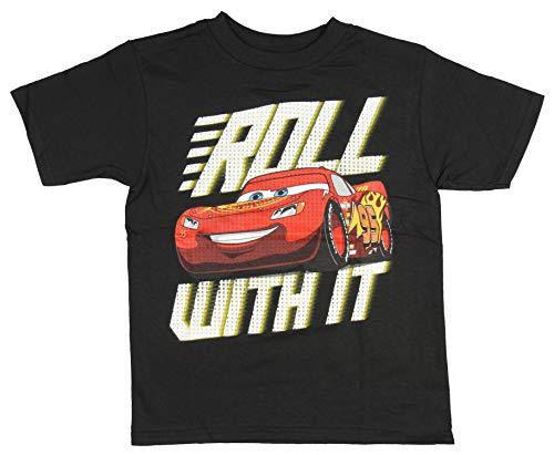 Disney Boys' Pixar Cars Roll with It Lightning McQueen Shirt (7) Black