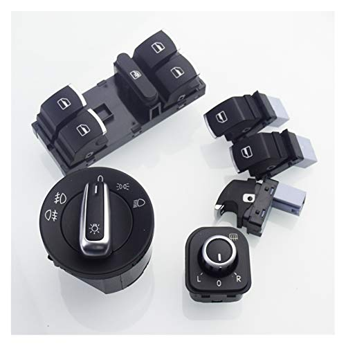 MAOFANG Chengfeng Commodities Interruptor de Faros + Interruptor de Espejo de Lado de Potencia cromada Fit para VW Golf 5 6 Jetta 5 6 Passat B6 Touran Tiguan Scirocco Amarok (Color : White)