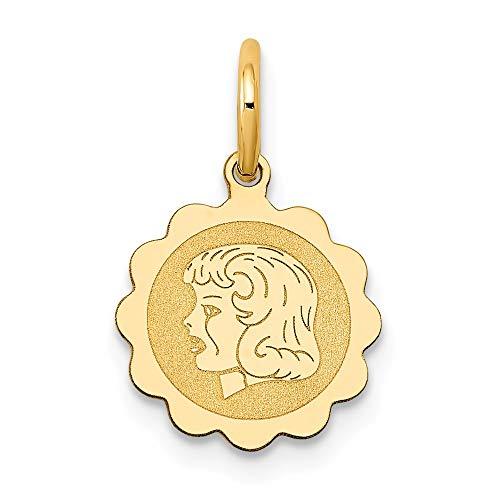 Saris and Things niña de la Cabeza 14k Oro Amarillo de 0.009 Gauge engravable Festoneado Disco Charm