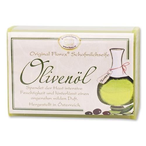 Savon au lait de brebis et à l'huile d'olive Florex - 100 g - Emballé avec un ruban de cellophane