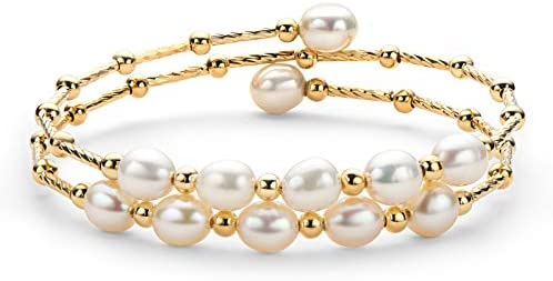 Pearl Bangle Freshwater Cultured Pearl Open Cuff Bangle Bracelets Jewelry Gifts for Women