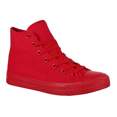 Elara Unisex Sneaker Damen Herren High Top Chunkyrayan ZY9031-12 Red-39
