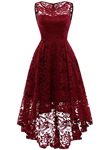 MuaDress 6006 Elegante Abendkleider Cocktailkleider Damenkleider Brautjungfernkleider aus Spitzen Knielange Rockabilly Ballkleid Rund Ausschnitt Tiefrot M