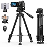 KINGJUE 60' Video Camera Tripod Compatible with Canon Nikon Sony Lightweight Aluminum DSLR Stand with Universal Phone Tablet Holder Remote Shutter Carry Bag
