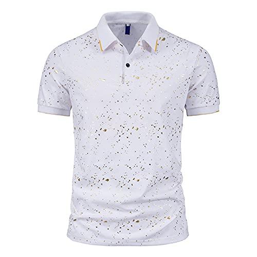 Casuales Camisas Hombre Básica Ajuste Regular Hombre Shirt Verano Manga Corta Tradicional Camisa Botón Placket Elástica T-Shirt Casual Wicking Transpirable Deportiva Camisa B-White L