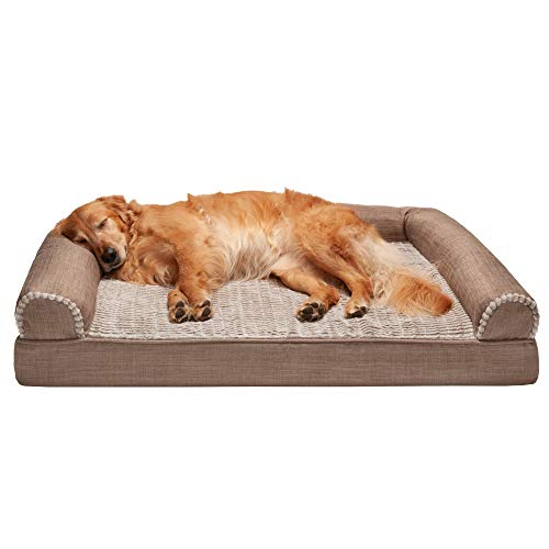 Furhaven Pet Dog Bed  Orthopedic Plush Luxe Faux Fur and Performance Linen Traditional SofaStyle Living Room Couch Pet Bed with Removable Cover for Dogs and Cats Woodsmoke Jumbo