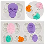 3 Pieces Halloween Skulls Silicone Mold Funny Skulls Silicone Pendant Mold Skeleton Head Skull Silicone Cake Decoration Mold Chocolate Candy Molds Pastry DIY Candy Tools