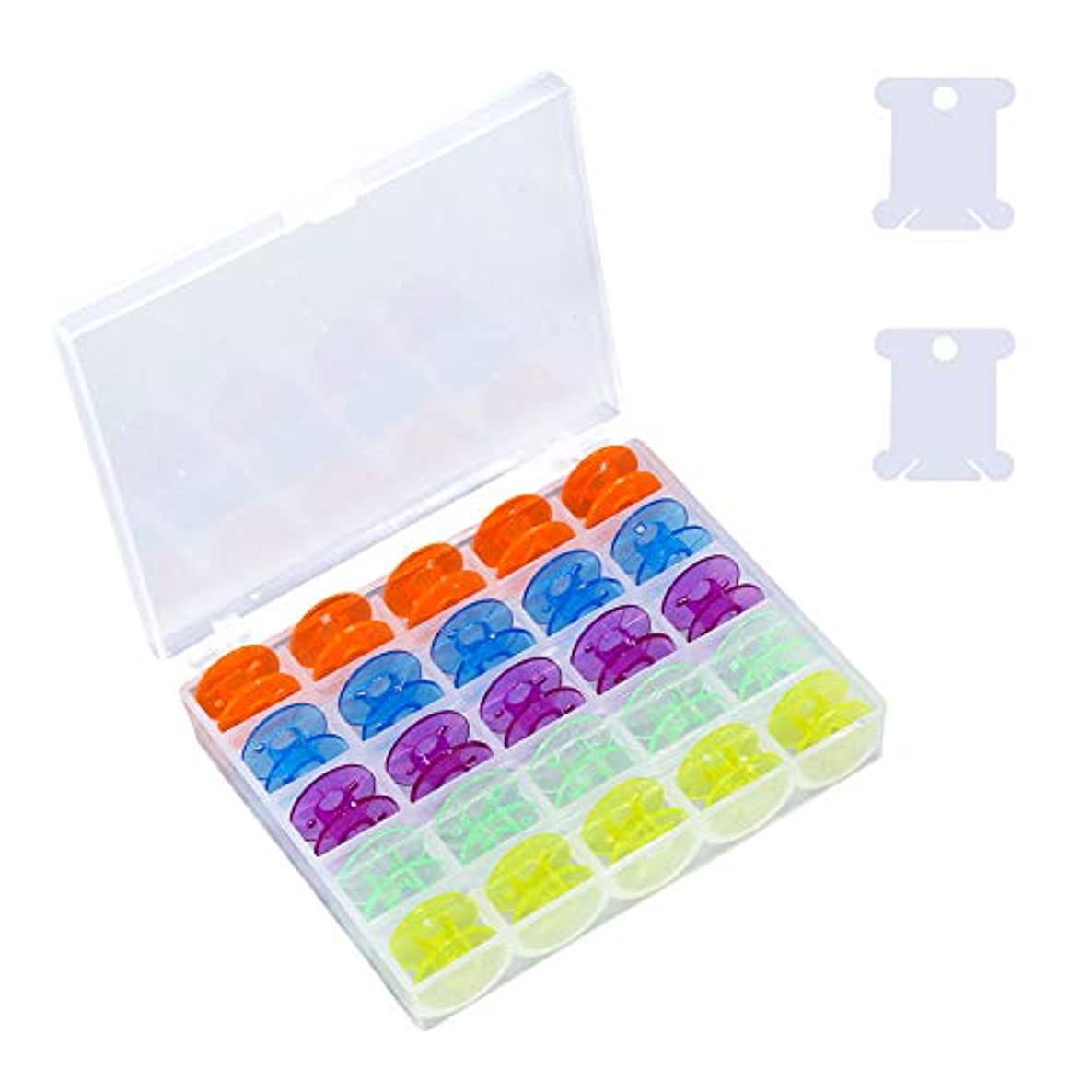 25Pcs Plastic Sewing Machine Bobbins with Storage Case and 2Pcs Floss Bossins, for Brother Singer Janome Kenmore, Assorted Colors