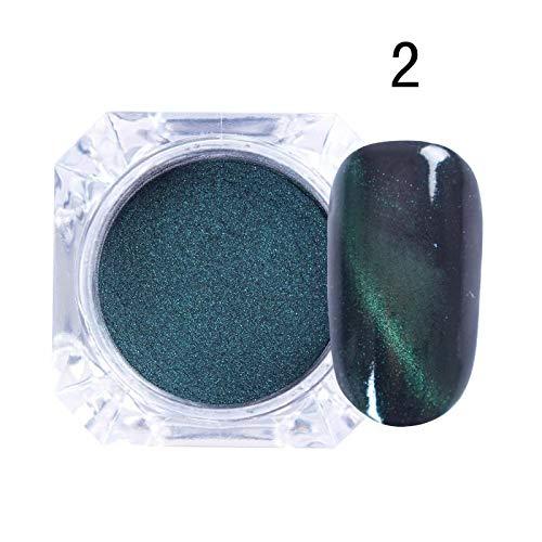MEIYY Décoration des ongles 1Box 3D Cat Eye Effect Magnet Mirror Powder Avec Brosse Magnétique Paillettes Poudre Uv Gel Chrome Diy Nail Art Pigment