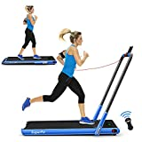 Goplus 2 in 1 Folding Treadmill, 2.25HP Under Desk Electric Treadmill, Installation-Free, with Remote Control, Bluetooth Speaker and LED Display, Walking Jogging Machine for Home Apartment Office