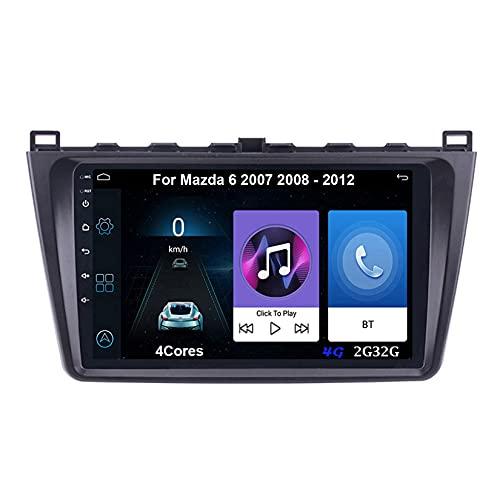 Autoradio Android Car Radio Stereo 9 Pulgadas Pantalla Táctil For Mazda 6 2 3 GH 2007-2012 Para De Coche Conecta Y Reproduce Autoradio Mit Bluetooth Freisprecheinrichtung (Color : 4Cores 4G 2G32G)