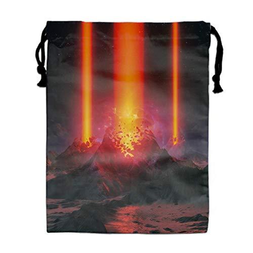engzhoushi Sacs à Cordon,Sac de Rangement Imperméable Volcano Cracks Eruption Planet Art Drawstring Shoe Bags Dust-Proof Travel Lingerie Storage Bags