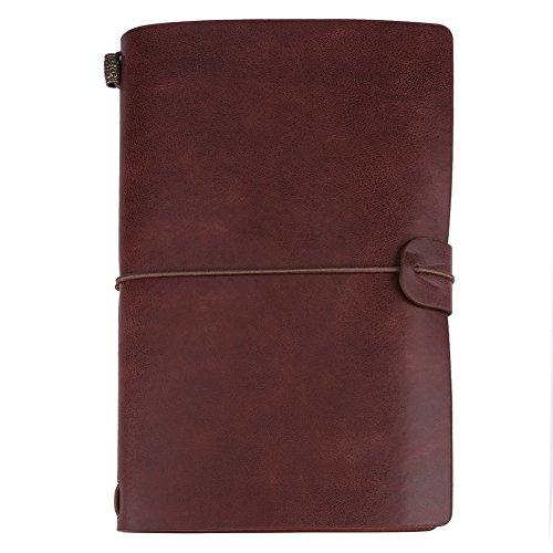 Cuaderno de viaje, 5 colores, clásico, de cuero de PU, hecho a mano, cuaderno de viaje, diario personalizado, cuaderno de notas recargable para hombres y mujeres, regalos de escritura(Marron o
