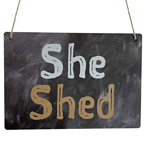 Indoor or Outdoor She Shed Plaque Gifts for Her SHE SHED Sign for Her Mum Girlfriend Wife Hanging Waterproof / Weather Resistant Novelty Funny Signs for Garden (Chalkboard 20cm x 14cm Acrylic Sign)