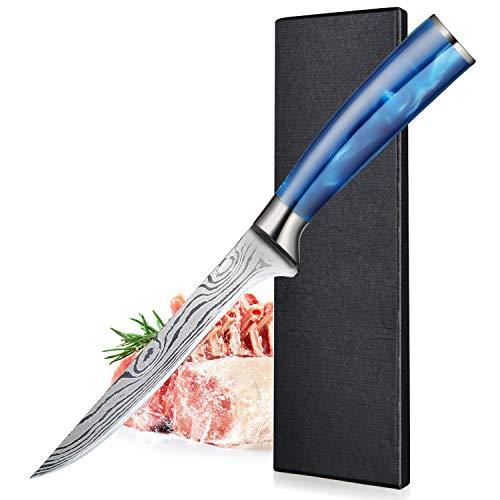 BILLION DUO 15 cm Cuchillo de Filetear, Cuchillo Profesional de Deshuesar, Cuchillo de Salmón, Cuchillo de Pescado con Mango de Resina Azul, para Cocina y Restaurante, Exquisita caja de Regalo
