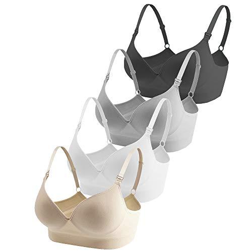 Vellette Femme Soutiens Gorge Maternite Allaitement Soutien-Gorge d'allaitement Soft Cup Bras (Lot de 4) - noir, gris, blanc, beige - 40 / 90