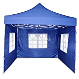 Invezo 10 x 10 feet Gazebo Canopy Tent (27 kgs, Blue, with 3 European Window Side Cover) - Including Cover Bag - 2 Minute Easy Installation Portable Tent