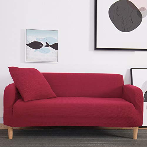 NOBCE Fundas elásticas Funda de sofá elástica seccional para Sala de Estar Funda de sofá en Forma de L Funda de sillón Rojo...