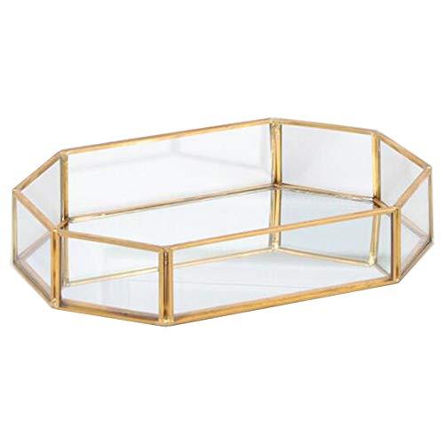 gouyou Bandeja de Almacenamiento del Espejo de Cristal Adornado del Metal del polígono para el Maquillaje/la joyería/el té/el Postre, decoración Concisa del Estilo de la Mesa de preparación