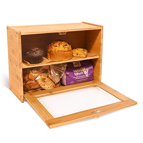 Goodpick 2-Layer Bamboo Bread Box 15' x 11' x 6' - Bread Storage Bin on Countertop Shelf - Bread box for Kitchen Counter with Transparent Window Small Bread Box for Egg Tart, Bagels, Muffins