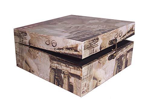 AAF Nommel®, Massivholz Box in Leinenoptik, Renaissance Rom Nr. 450, kunstvolle Verarbeitung, Metallbeschläge und Metallschloss verschraubt, Box ca. 26,5 x 26,5 x 12,5 cm