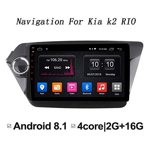 WY-CAR Autoradio Android 8.1 GPS da 9 Pollici per KIA K2 Rio 2012-2015 Autoradio Sistema Dvd di Navigazione 2G + 32G, con Quad Core OBD2 Bluetooth Mirror Link Full Touch Screen AM FM RDS