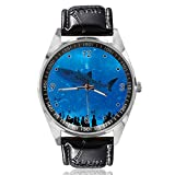 Reloj de Cuarzo analógico con diseño de Parque Acuario con Personas, Esfera Plateada, Correa de Piel clásica, para Hombre y Mujer