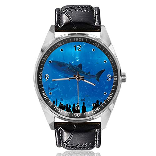 Aquarium Park met Mensen Aangepast Ontwerp Analoge Quartz Horloges Zilveren Wijzerplaat Klassieke Lederen Band Dames Horloge