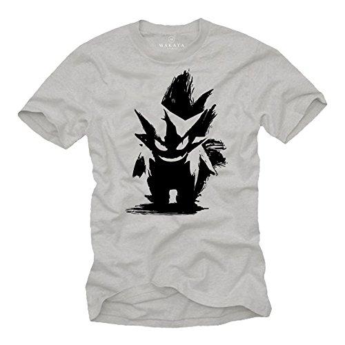Geek Gaming T-Shirts - Pokemon Shirt Pika Pikachu Pokeball Geschenke grau L