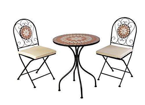 3 teiliges Bistro Set Metall beschichtet Mosaik Stühle klappbar Garten Balkon Garnitur inkl Auflagen