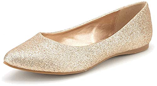 DREAM PAIRS Sole Classic Women's Casual Pointed Toe Ballet Comfort Soft Slip On Flats Shoes Gold Glitter Size 9