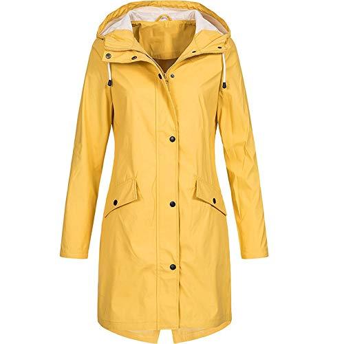 Mantel Damen, Damen Solid Rain Jacket Outdoor Hoodie Wasserdichter Regenmantel mit Kapuze Winddicht(Gelb-Mantel Frauen,XXX-Large)
