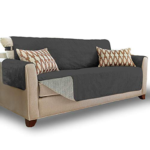 """Gorilla Grip Original Soft Suede-Like Sofa Protector, Large, 70"""" Seat Width, Patented Slip Resistant Durable Furniture Slipcover with Straps, Washable Couch Cover for Dogs, Kids, Pets, Dark Gray"""