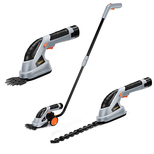 Why Should You Buy VonHaus 2 in 1 Cordless Grass Shears Hedge Trimmer Handheld Wheeled Extension Handle, Gray, 2-in-1