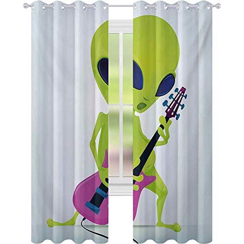 Cortinas opacas para dormitorio, diseño de personaje extranjero que toca guitarra eléctrica,...
