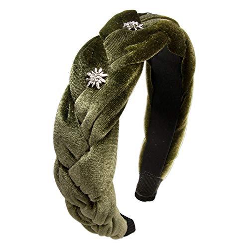 Alpenflüstern Trachten-Samt-Haarreif Flechtoptik & Strass-Edelweiß - Haarschmuck, Haarband fürs Dirndl (grün) ADV129